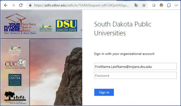 South Dakota Board of Regents Federated login screen.  Use your D S U email address and password to continue.