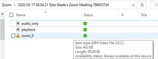 Shows a Windows 10 file explorer with three files from the Zoom recording. The three files are named audio_only, playback, and zoom_0. zoom_0 is highlighted to show it is an mp4 file.