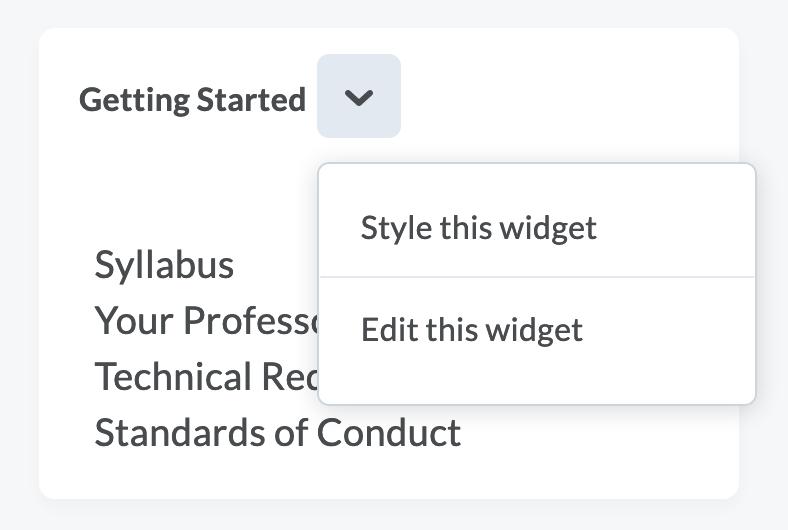 screen shot of Getting Started drop down menu, Edit this widget