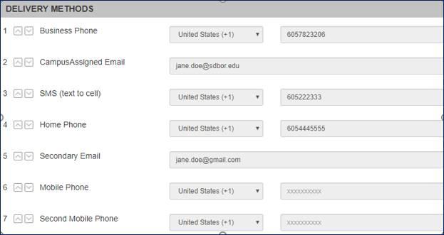 Alert delivery methods sample
