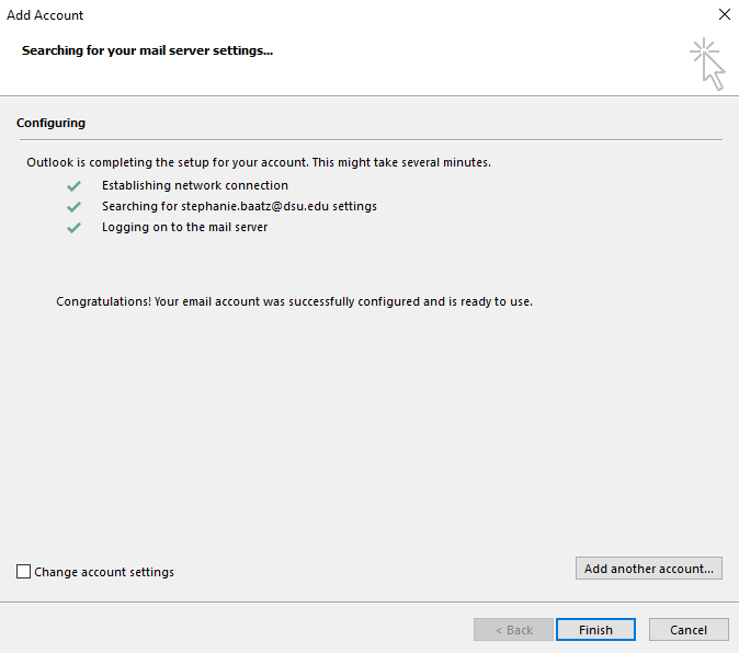 Finish outlook configuration screen shot