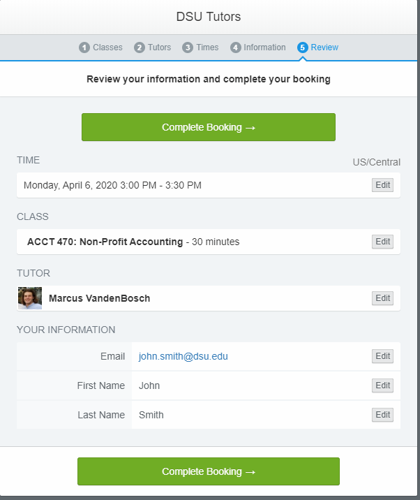 Box to review your tutoring appointment. Shows the selected class, tutor, date, and time. Shows your contact information and the final complete button at the bottom to finish your booking.