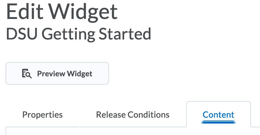 screen shot of Edit Widget, Content button