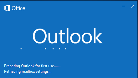 Outlook preparing for first time use startup screen shot