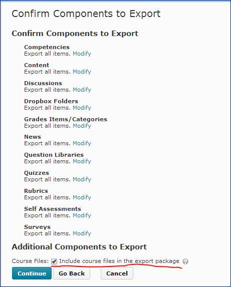 Confirm Components to export