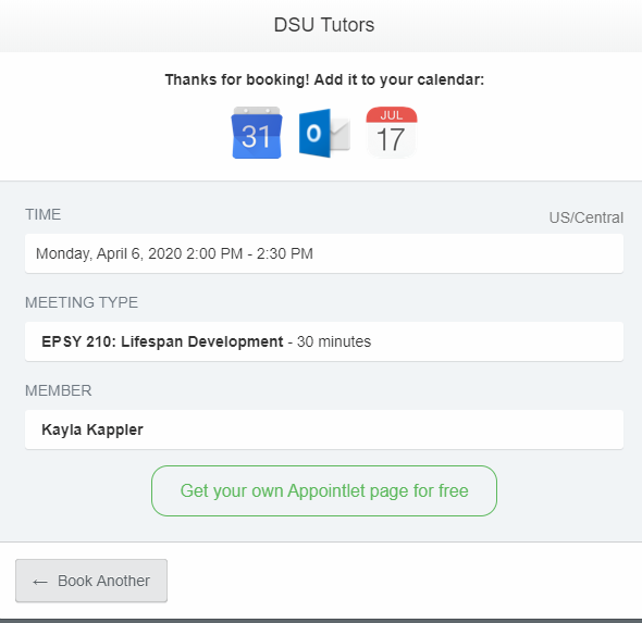 Box showing that your session has been successfully booked. Shows the time, class, and tutor you have booked with. Calendar attachments are at the top to download for Gmail, Outlook, and iOS.